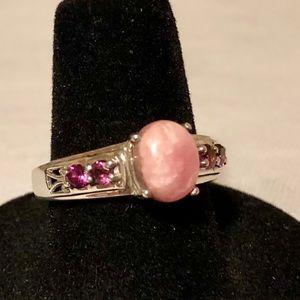 Pink Rhodochrosite Ring Sterling Silver Amethyst 7